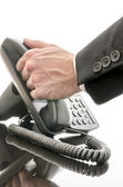Answering phone — Stock Photo