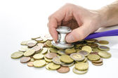 Male hand with stethoscope over Euro money — Stock Photo