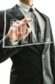 Człowiek biznesu, wskazując na wykres — Zdjęcie stockowe