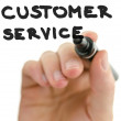 Detail of male hand writing phrase customer service on a virtual — Foto de Stock