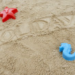 Stock Photo: Word holidays written in sand