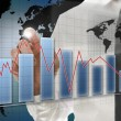 Interactive business graph on virtual screen — Stockfoto