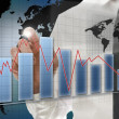 Interactive business graph on virtual screen — Stock Photo