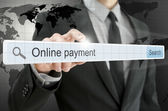 Online payment written in search bar — Stock Photo