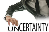 Changing word Uncertainty into Certainty — Stock Photo