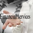 Business man presenting sign Financial services — Stock Photo