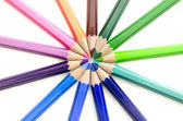 Colored pencils forming a circle — Stock Photo