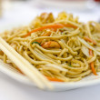 Chinese noodles with shrimps — Stock Photo