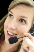 Businesswoman making conference call — Stock Photo