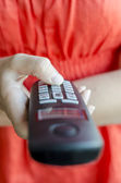 Dialing phone number on portable telephone handset — Stock Photo
