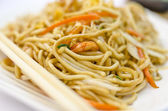 Closeup of asian fried noodles — Stock Photo