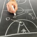 Drawing basketball strategy — Stock Photo