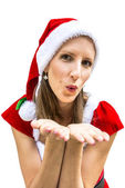 Miss santa sending you a kiss — Foto Stock