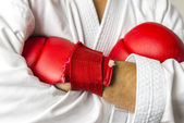 Kickboxer arms crossed — Stock Photo