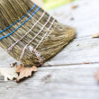 Sweeping wooden patio — Stock Photo