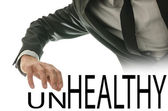 Changing word Unhealthy into Healthy — Stock Photo