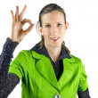 woman making ok gesture — Stock Photo