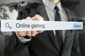 Online gaming written in search bar — Stock Photo