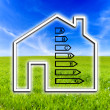 Outline of a home showing energy efficiency rating — Stock Photo