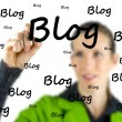 Blogger writing - Blog - on a virtual interface — Stock Photo