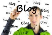 Blogger writing - Blog - on a virtual interface — Stock Photo