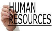 Man writing Human Resources on a virtual screen — Stock Photo