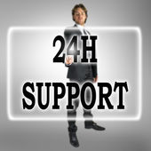 24h Support text on a virtual interface — 图库照片