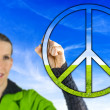 Womwith peace sign — Stock Photo #38741245