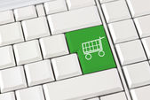 Shopping trolley icon on a computer keyboard — Stock Photo