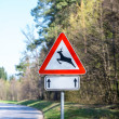 Traffic warning sign for deer and buck — Stock Photo