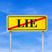 Traffic sign prohibiting lying — Stock Photo