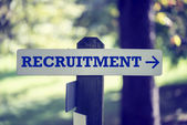 Recruitment signpost — Stock Photo
