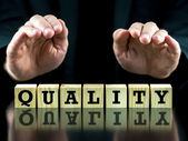 The word - Quality - on wooden cubes — Stock Photo
