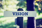 Rustic wooden sign with the word - Vision — Stock Photo