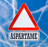 Aspartame traffic warning sign — Stock Photo