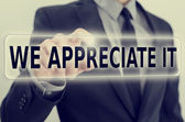 We Appreciate It feedback icon on a virtual screen — Stock Photo