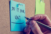 Blue reminder with the advice to do it your way — Stock Photo