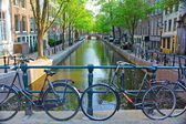 Bicycles on an Amsterdam Canal — Stock Photo