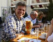 Happy Austrian Man Drinking Beer — Stock Photo