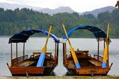Colorful Boats Anchored on a Lake in Slovenia — Stock Photo