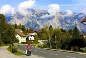 Happy Biker in Julian Alps — Stock Photo