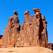 Three Gossips Rock Formation in Arches National Park — Stock Photo