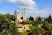 Olive Trees and Towers, Tuscany, Italy — Stock Photo