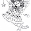 Stock Photo: Ink Drawing of Christmas Angel