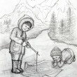 Stock Photo: Two Inuit Children Fishing on Ice