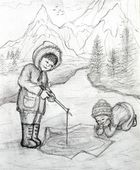 Two Inuit Children Fishing on Ice — Stock Photo