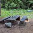 Picnic place with wood table and bench in mountain - Stock Photo
