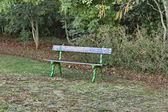 Romantyczny ławki do wypoczynku w parku tomaszkowo — Zdjęcie stockowe