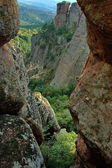 Belogradchik rock - look from one rock cleft. — Stock Photo