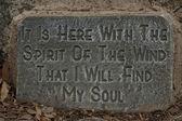 A stone inscription for meditation in Pilanesberg National Park — Stock Photo